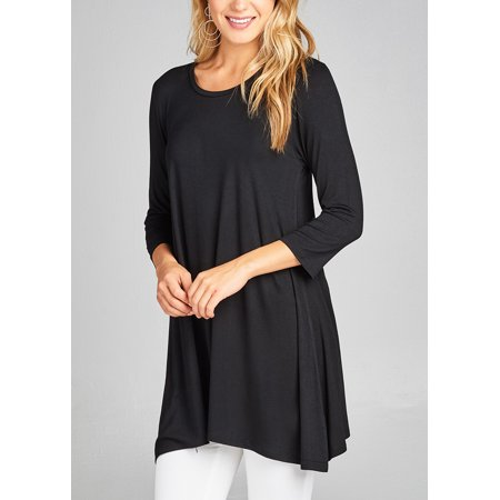 Womens Juniors Must Have Basic Casual Everyday Loungewear Solid Black Stretchy Rayon Spandex Tunic Top 41403V