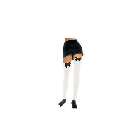 White with Black Bow Thigh Hi Adult Halloween Accessory, One Size, (4-14) - Hi Halloween