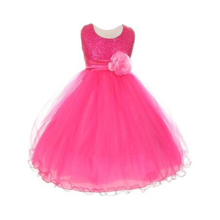 e624657e3 Girls Fuchsia Sequin Mesh Flower Sash Special Occasion Dress 10 ...