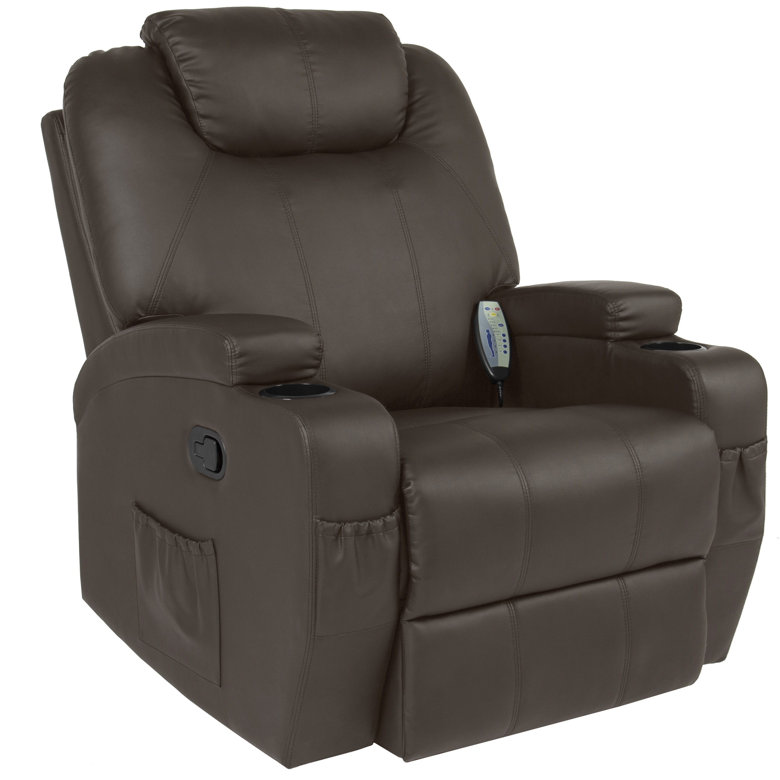 Best Choice Products Executive PU Leather Swivel Electric Massage Recliner Chair w/ Remote Control, 5 Heat & Vibration Modes, 2 Cup Holders, 4 Pockets - Brown
