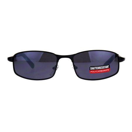 Mens Narrow Rectangular Metal Rim Sport Agent Sunglasses Black