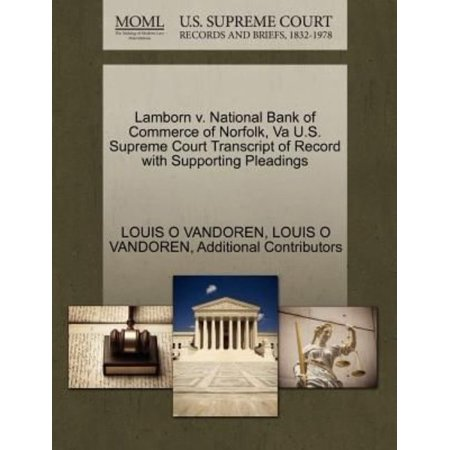 Lamborn V  National Bank Of Commerce Of Norfolk  Va U S  Supreme Court Transcript Of Record With Supporting Pleadings