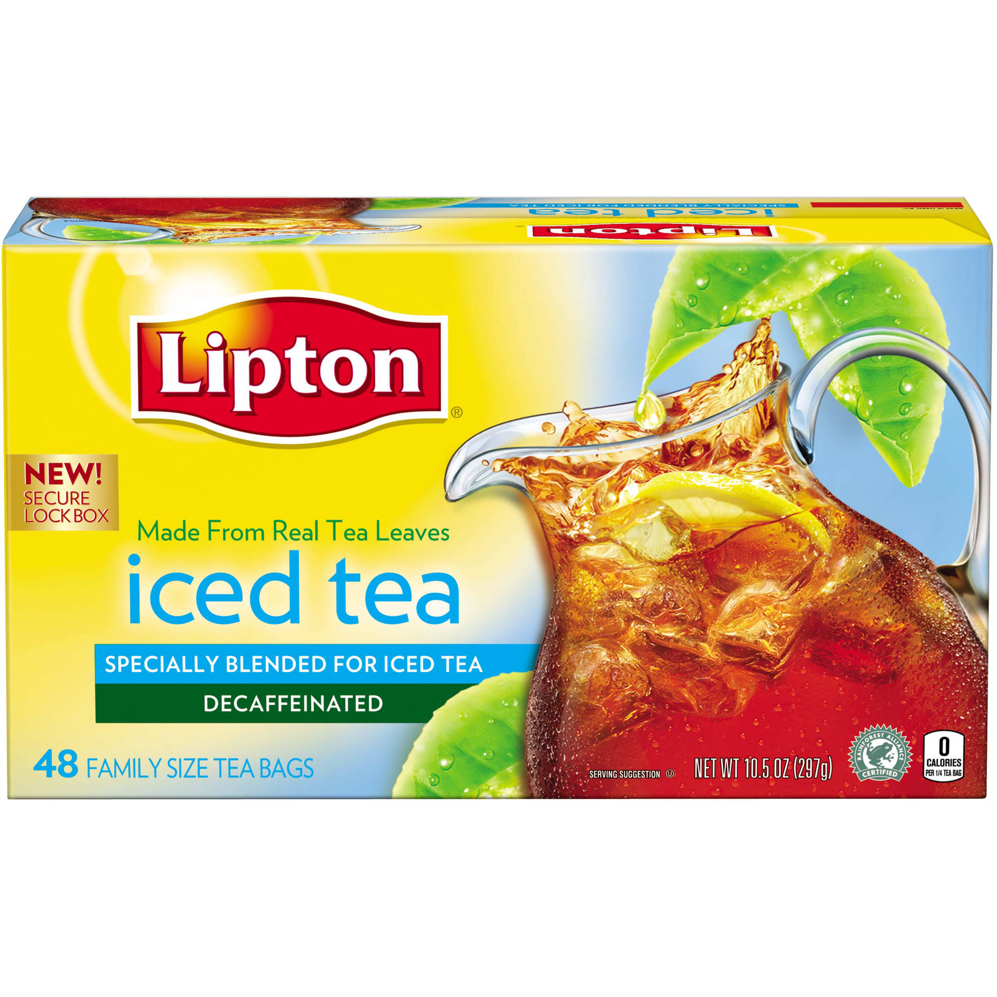 Lipton Decaffeinated Family Size Black Iced Tea Bags, 48 ct