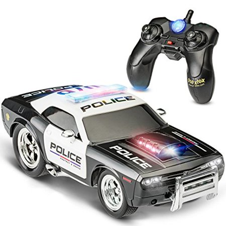 Prextex RC Police Car Remote Control Police Car RC Toys Radio Control Police Car Great Christmas Gift toys for boys Rc Car with Lights And Siren Best Christmas gift for 5 year old boys And