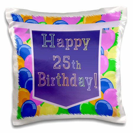 3dRose Balloons with Purple Banner Happy 25th Birthday - Pillow Case, 16 by 16-inch - Purple Birthday Banner