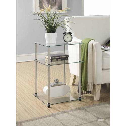 Convenience Concepts Designs2Go Classic Glass 3-Tier End Table, Glass