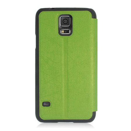 Insten Flip Leather Fabric Cover Case For Samsung Galaxy S5 - Green - image 2 de 4
