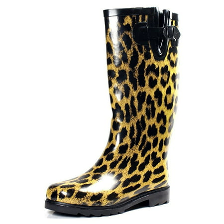 OwnShoe Womens Leopard Rain Snow Winter Flat Rubber - Padded Lining