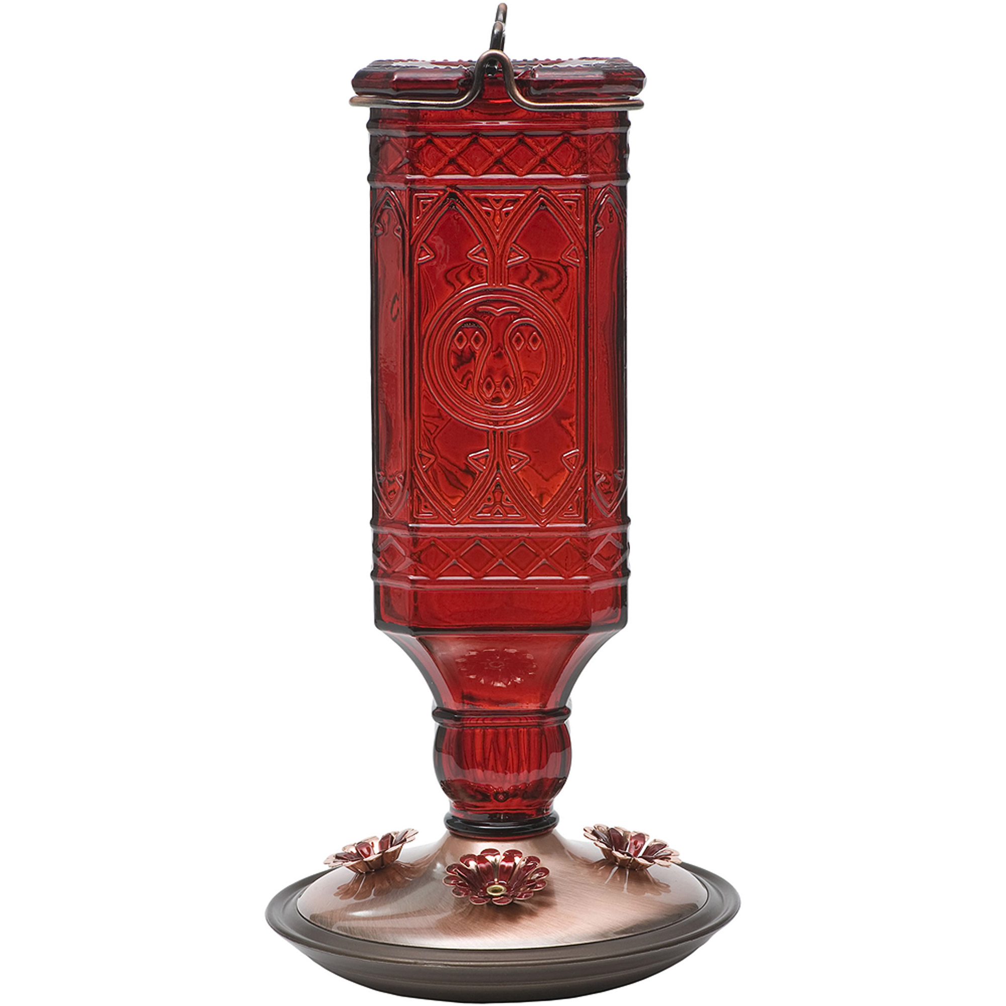 Perky-Pet Red Square Antique Bottle Glass HummingBirdfeeder by Woodstream Corp