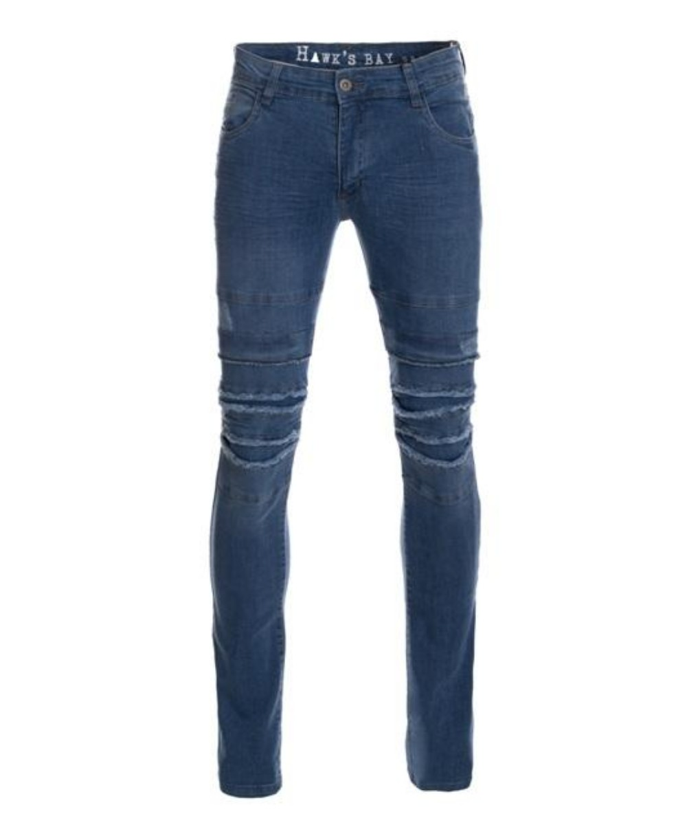 Hawks Bay Men's Moto Jeans Paneled Knees Skinny Legs Blue 34