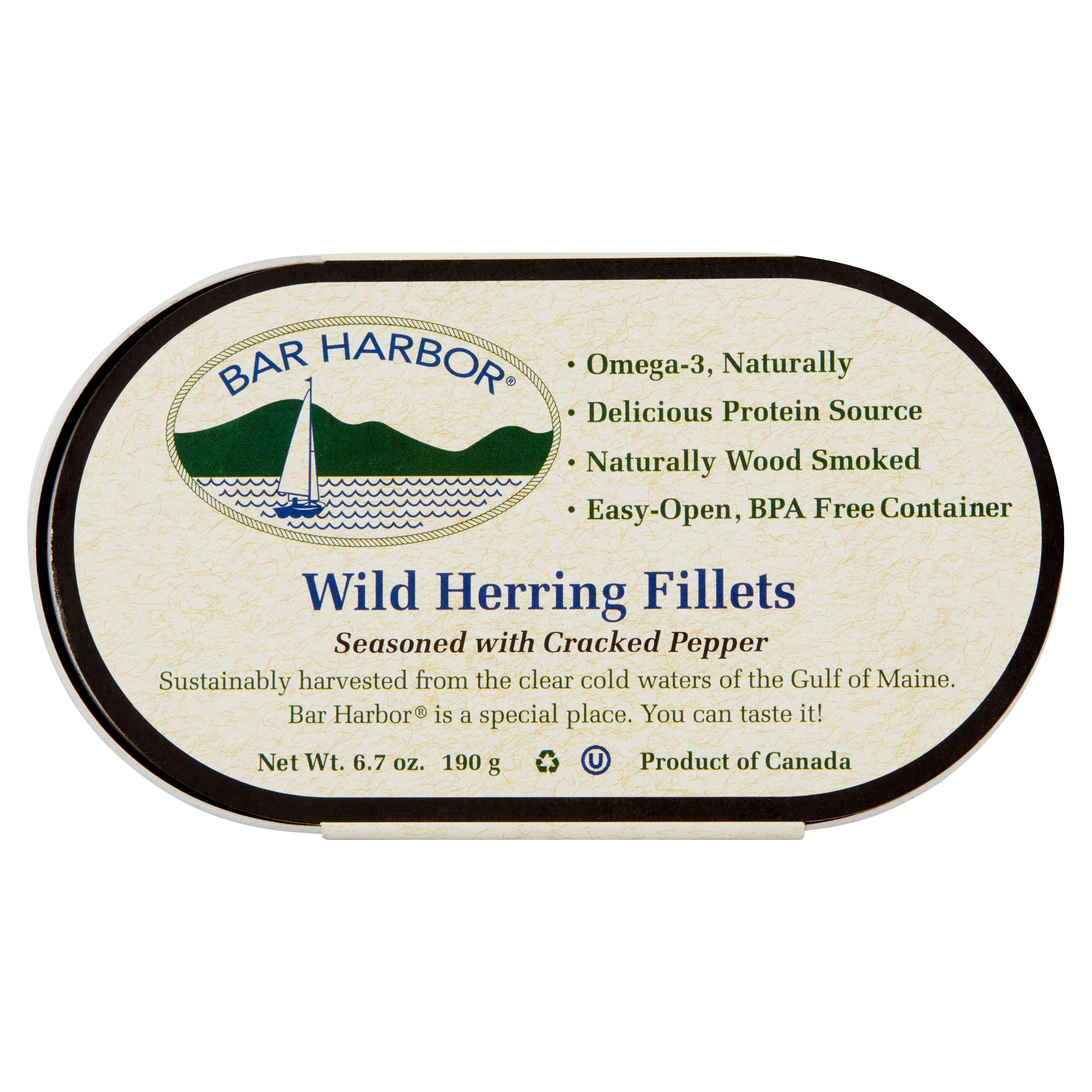 (2 Pack) Bar Harbor Wild Herring Fillets with Cracker Pepper, 6.7 oz