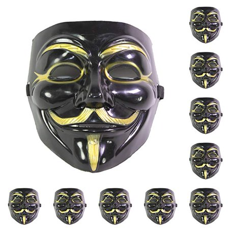 Fawkes Mask (-Set of 10 Black V for Vendetta Guy Fawkes Anonymous Costume Cosplay Masks)