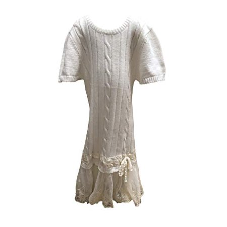 Drop Waist Cable Knit Ivory Short Sleeve Sweater Dress with Lace Tulle Skirt (2T)