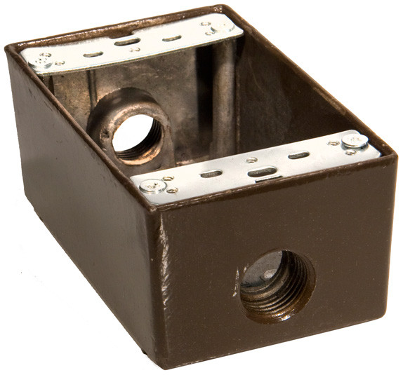 Weatherproof Boxes - One Gang 18 Cubic Inch - 3 Outlet Holes 1/2in. Bronze