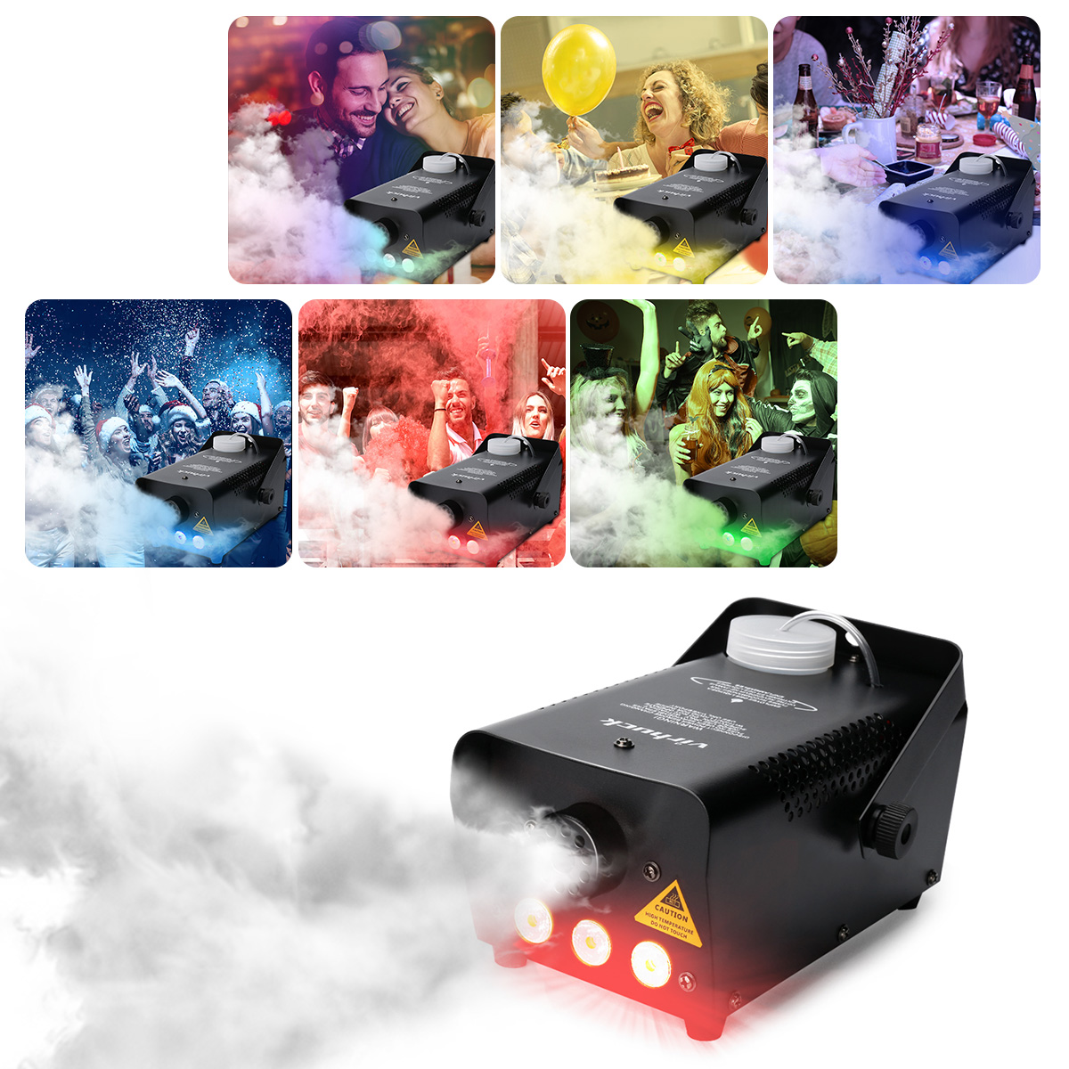 500W Portable RC Fog Machine with Wireless Remote Control Equipped with 7 Colors LED Lights, Professional Smoke Machine, Smoke Machine for Halloween Weddings Christmas Parties Dance/Drama by Virhuck