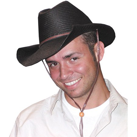 Rolled Edge Black Cowboy Hat Adult Halloween Accessory