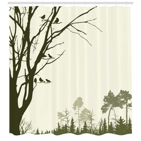 Forest Shower Curtain Nature Theme The Panorama Of A Pattern Birds On Tree Branches Print Fabric Bathroom Set With Hooks Olive Green Cream