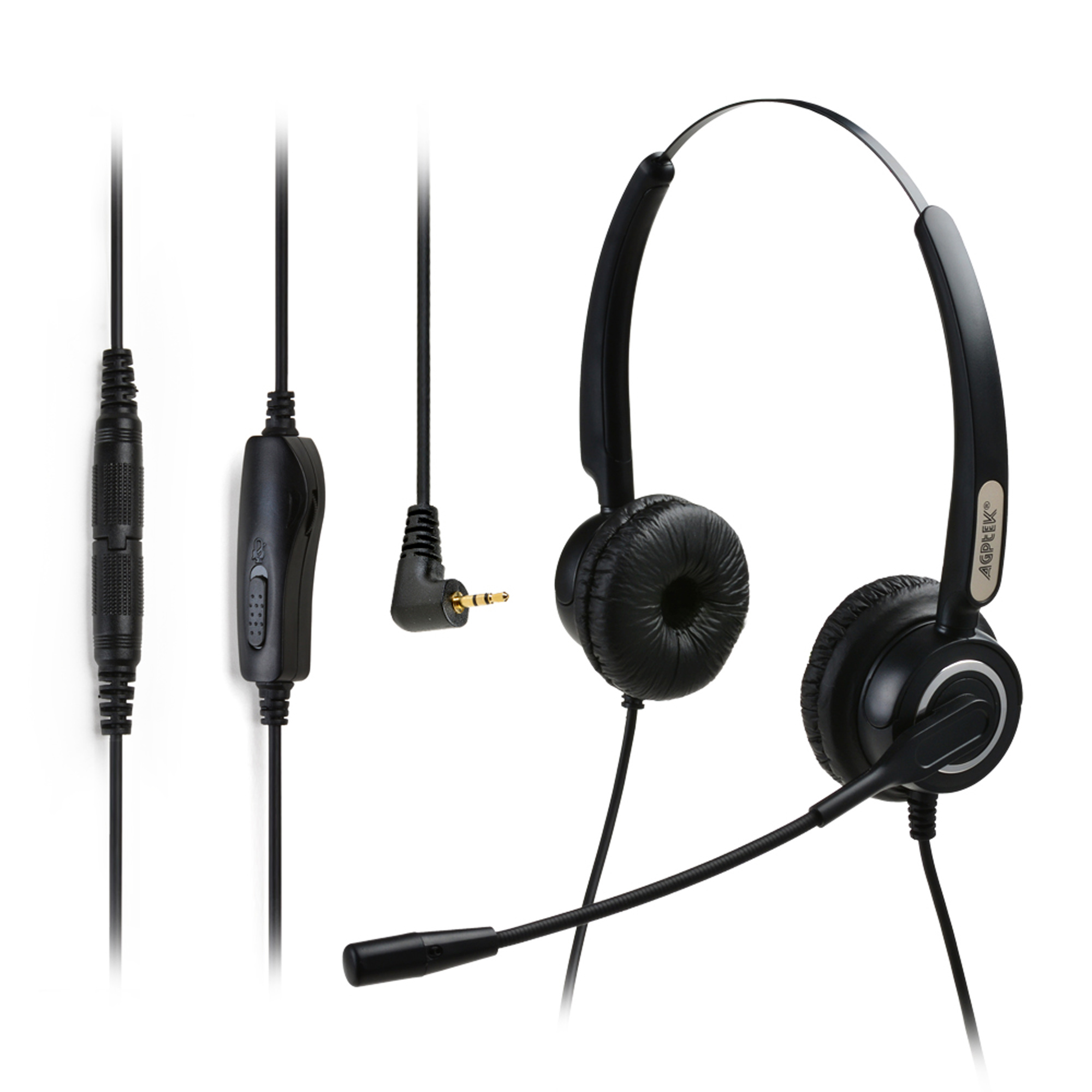 AGPtek Hands-free 2.5mm Binaural Telephone Headset w/ Noise Canceling Mic + 3.5MM QD + Volume Mute Black