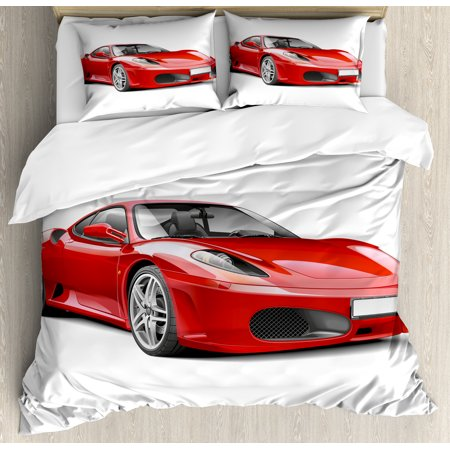 Teen Room Duvet Cover Set, Fancy Italian Super Car Modern Style New Automobile European Design, Decorative Bedding Set with Pillow Shams, Red and Charcoal Grey, by Ambesonne ()