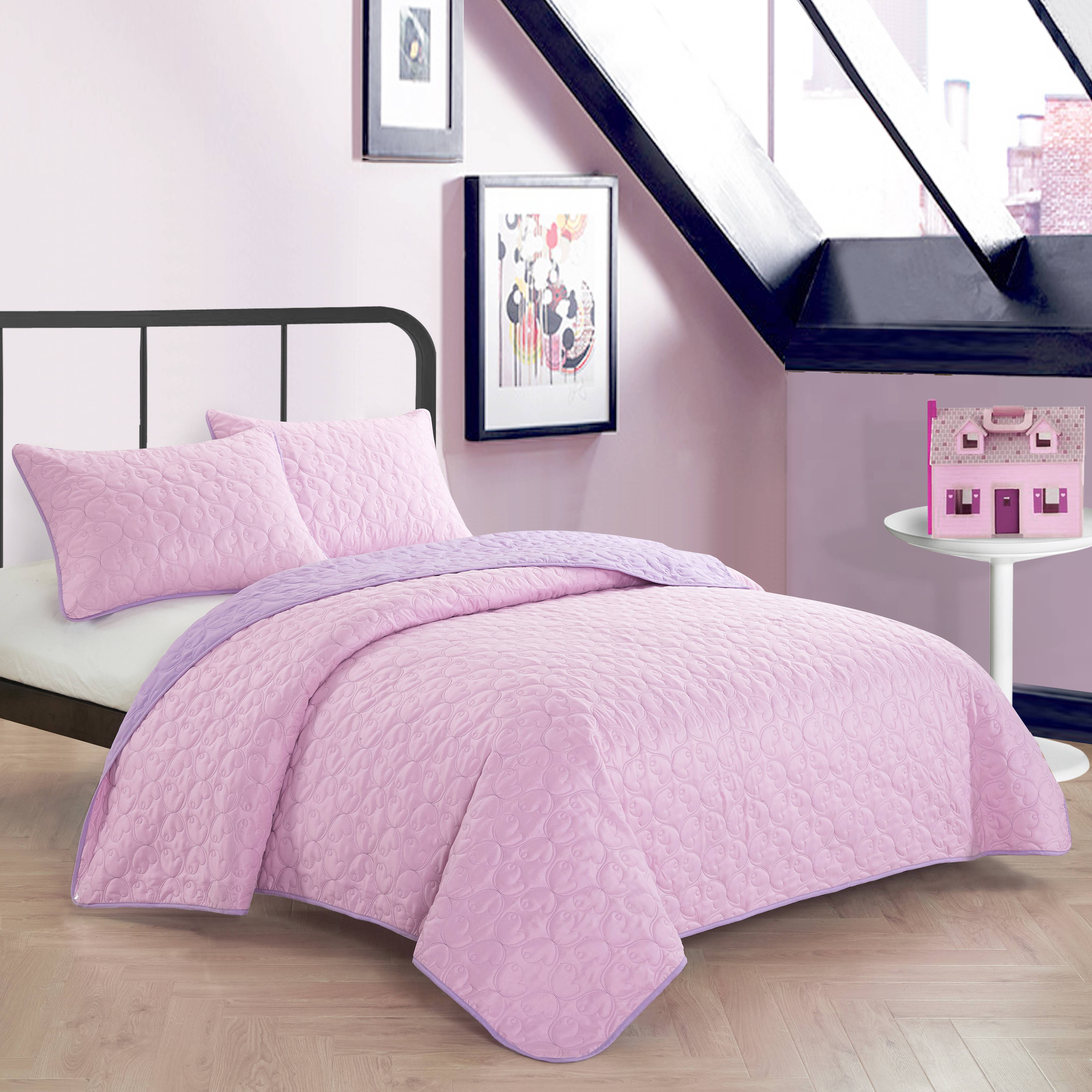 Mainstays Kids Blush Pink Reverse To Lavender Quilt Set
