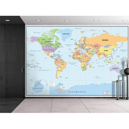 Wall26 2016 Newest World Map Wall Mural Removable Wallpaper Home