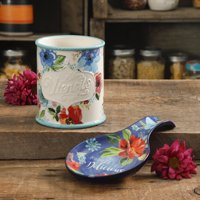 The Pioneer Woman Floral 2-Piece Mini Utensil Crock and Spoon Rest Set