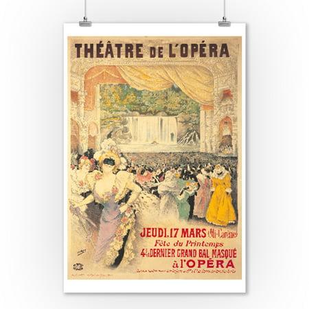 Theatre de l'Opera - 4e Bal Masque Vintage Poster (artist: Gray, H.) France c. 1898 (9x12 Art Print, Wall Decor Travel Poster) - Musique De Halloween Film