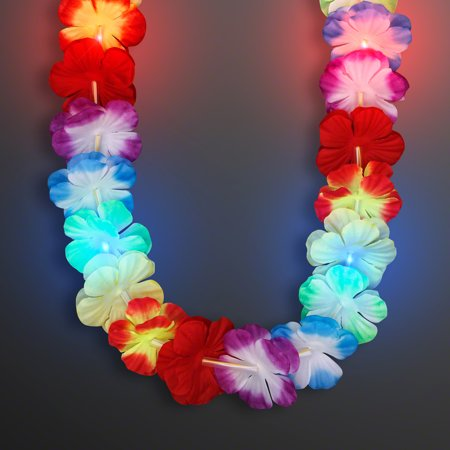 FlashingBlinkyLights Rainbow LED Flower Lei Light Up Necklace
