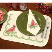 Herrschners  Woodland Christmas Placemats & Napkins Stamped Cross-Stitch
