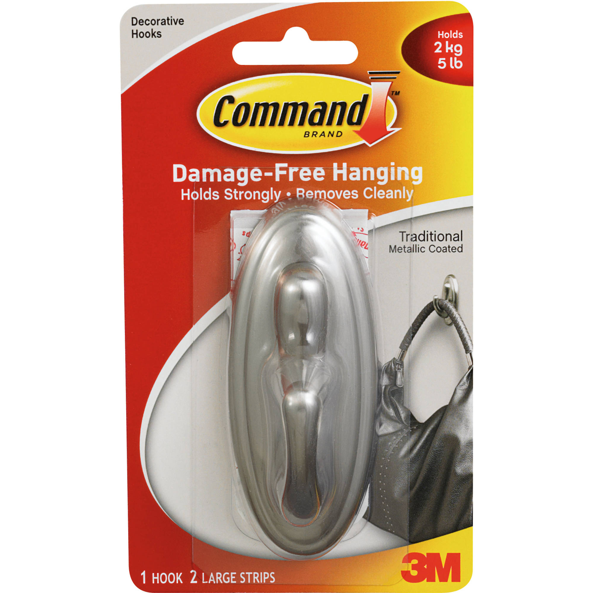 Command Large Traditional Hook, Brushed Nickel, 1 Hook, 2 Strips, 17053BN