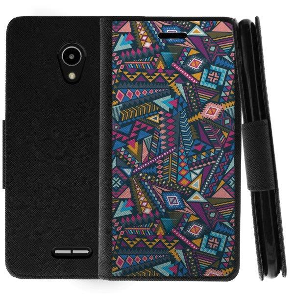 TurtleArmor ® | For Alcatel IdealXCITE | CAMEOX | U50 | Verso | Raven [Wallet Case] Leather Cover with Flip Kickstand and Card Slots - Colorful Tribal Abstract
