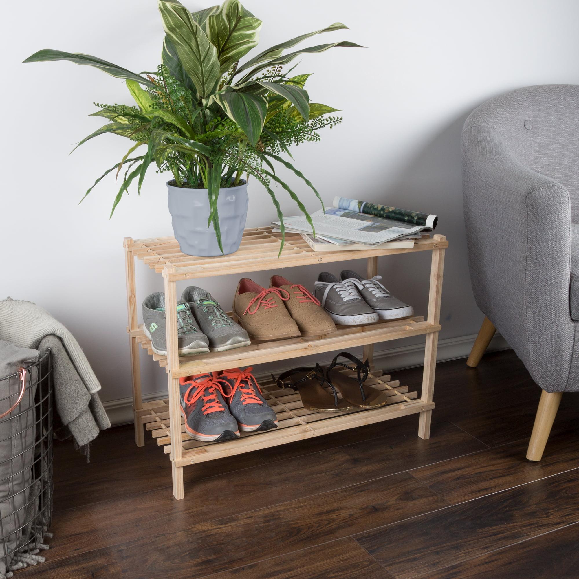 Wood Shoe Rack, Storage Bench – Closet, Bathroom, Kitchen, Entry Organizer, 2, 3, or 4-Tier Space Saver Shoe Rack by Lavish Home