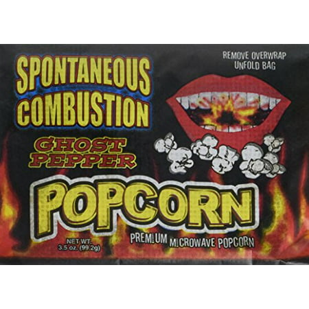 Spontaneous Combustion Microwave Ghost Pepper Popcorn - For Those Brave Souls That Can Take the Heat - Orange Popcorn For Halloween