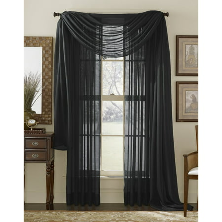 Decotex 3 Piece Sheer Voile Curtain Panel Drape Set Includes 2 Panels And 1 Scarf 108 Length Black