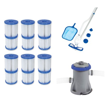 Bestway Type V/K Filter Cartridge (6 Pack) + Pool Cleaning Kit + Filter (Best Way To Clean Concrete Garage Floor)
