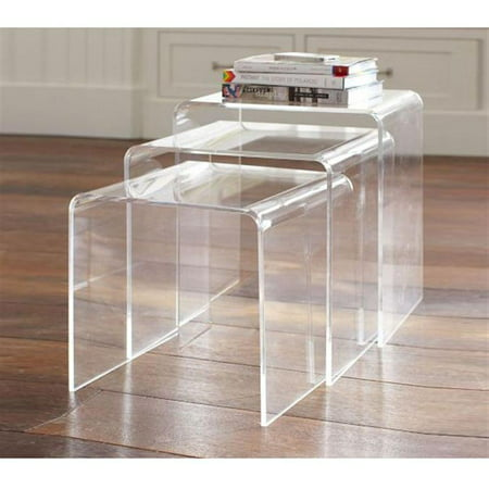 Homcom 3pc acrylic stackable nesting end side tables clear Acrylic clear coffee table