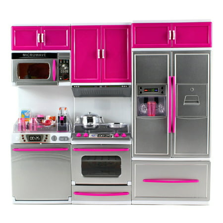 My Modern Kitchen Full Deluxe Kit Battery Operated Kitchen Playset: Refrigerator, Stove,