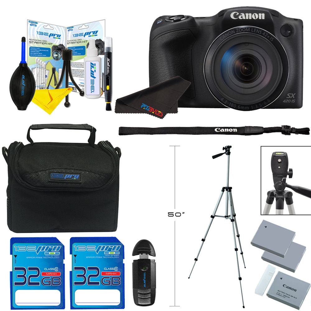 Canon PowerShot SX420 IS Digital Camera (Red) + SD Card + Tripod + Pixi Phoography undle Kit