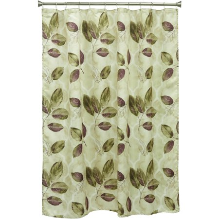 Bacova Guild Purple Leaves Printed Poly Silk 70 X 72 Shower Curtain