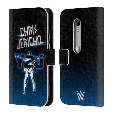 Official Wwe Chris Jericho Leather Book Wallet Case Cover For Motorola Phones