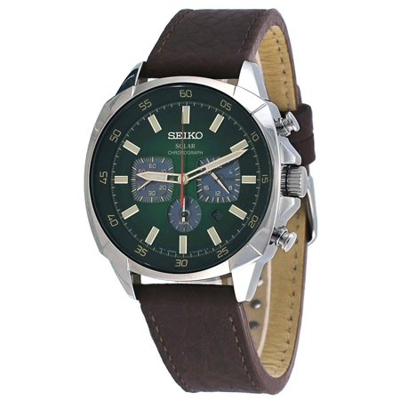 - Seiko SSC513 Men's Recraft Solar Green Dial Brown Leather Strap Chronograph Power Reserve Watch