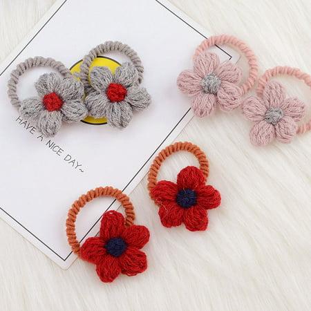 babydream1 2Pcs/set Kids Mini Flower Hair Tie Ponytail Holder Children Girls Cashmere Flowers Hair Band Rope - image 8 de 9