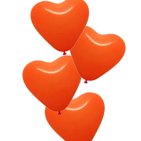 25 x Heart Shaped Party Balloons Latex Balloon Heart Balloon for Wedding Birthday Propose Anniversary Party, Orange - Heart Shaped Balloon