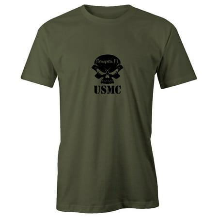 Grab A Smile USMC Semper Fi Skull Marine Corp Short Sleeve Cotton Men's