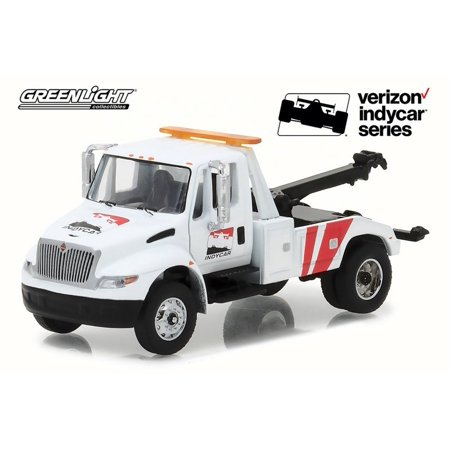 2018 International DuraStar Tow Truck IndyCar, White w/ Red - Greenlight 29952/48 - 1/64 Scale Diecast Model Toy