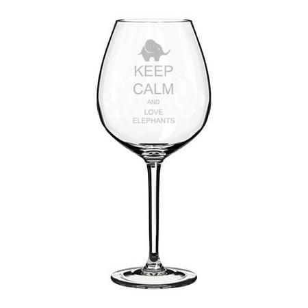 Wine Glass Goblet Keep Calm and Love Elephants (20 oz Jumbo)](Jumbo Glasses)