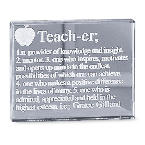 "Personalized ""Teacher"" Glass Block"