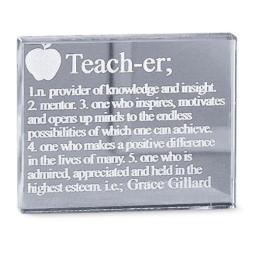"Personalized ""Teacher"" Glass Block"