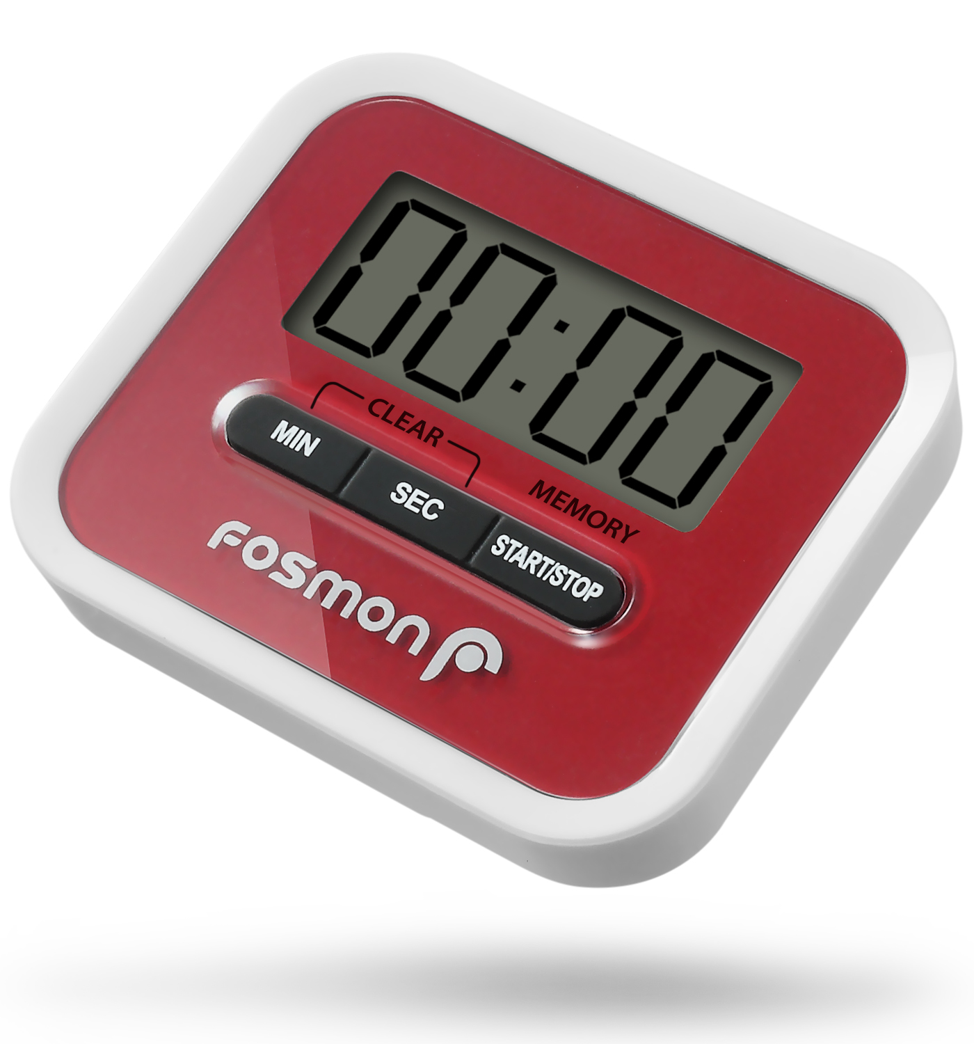 Fosmon Large Digital Screen Kitchen Timer, Loud Alarm with Magnetic Back, Stand and Handy Clip - White/Red