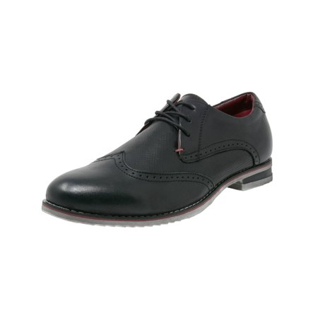 Double Diamond By Alpine Swiss Mens Oxfords Genuine Leather Wingtip Dress (Black & White Wingtips)